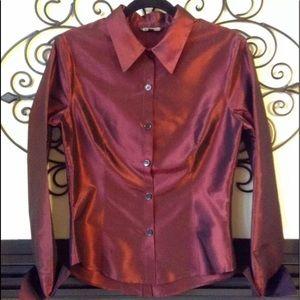 rozae nichols silk button front blouse designer 10